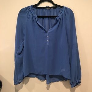 Nordstrom Rubbish Brand Blue Long Sleeve Blouse
